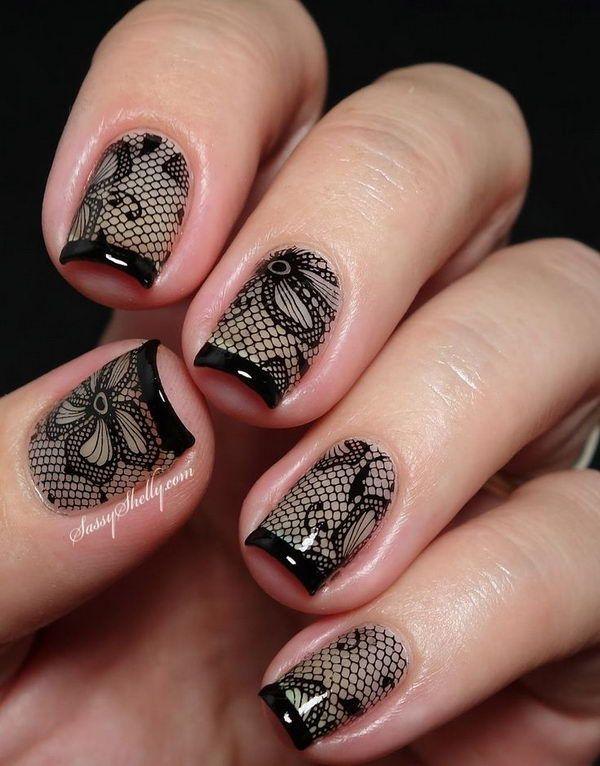 Vintage Black nail design