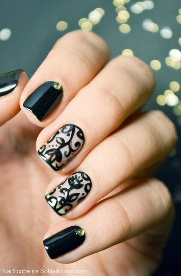 Black Nail Designs 26