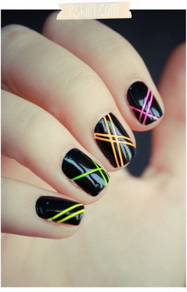 Neon Light Black Nail art