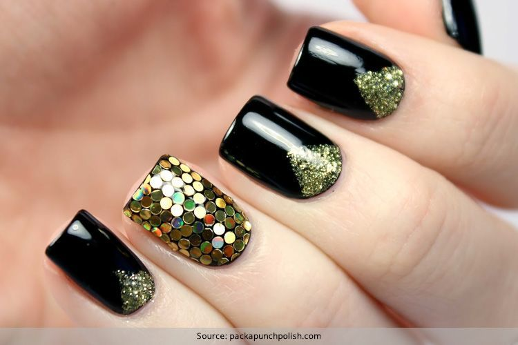 50 boldest black nail designs to stand out of the crowd black nail designs 37 prinsesfo Gallery