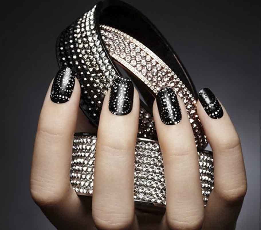 black Rhinestone Nail Art