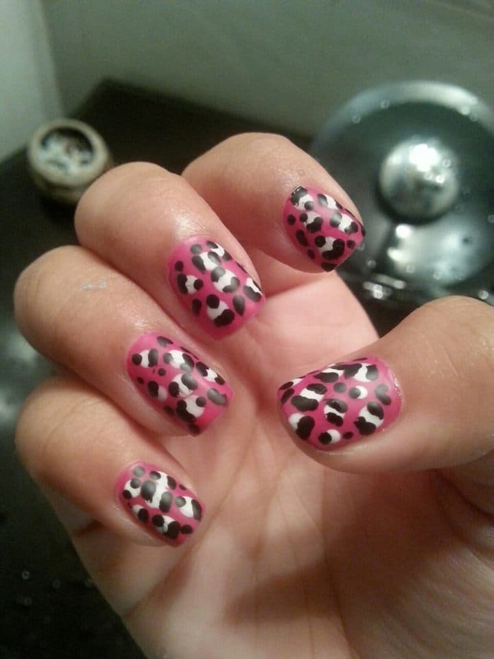 Pink, Black, & White Short Nail Designs