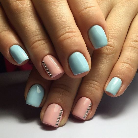 Egg Blue Short Nail Designs