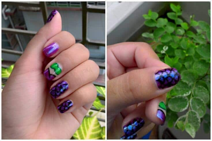 Mermaid Theme Short Nail art
