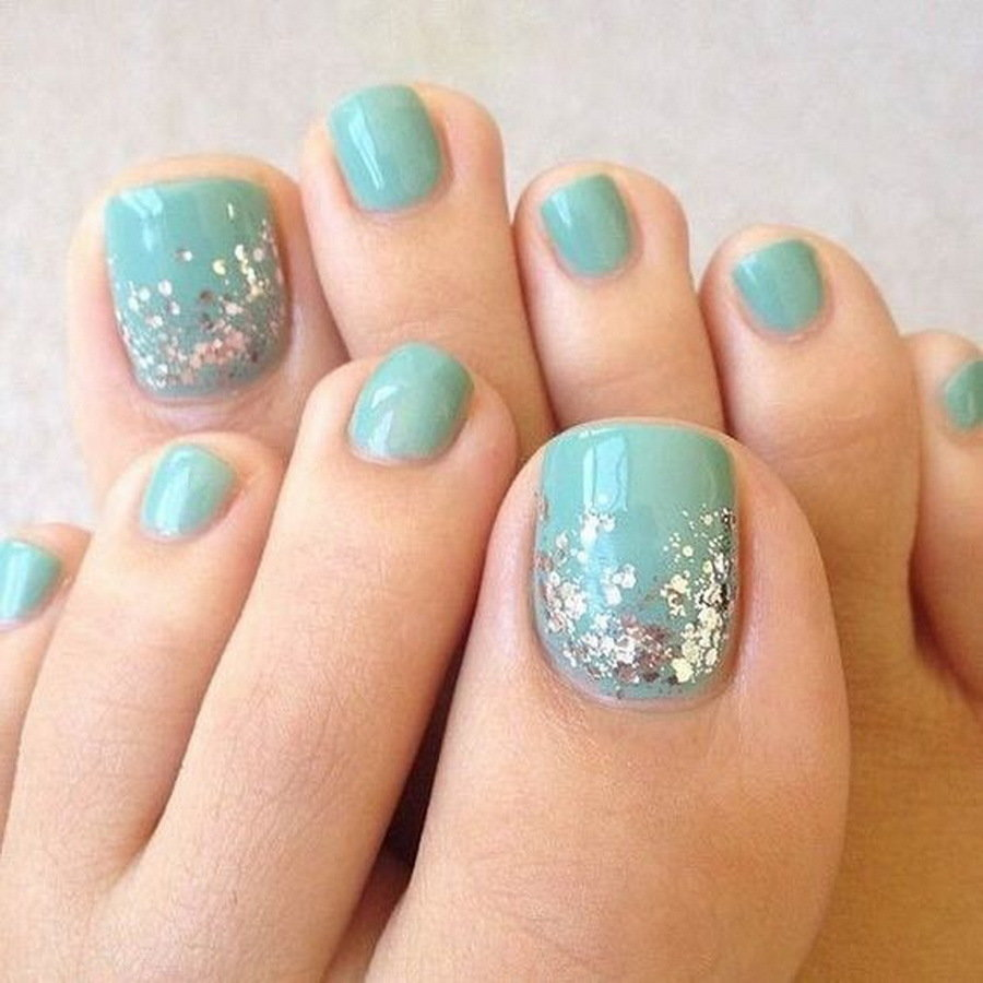 Simple light blue toe nail design for girls