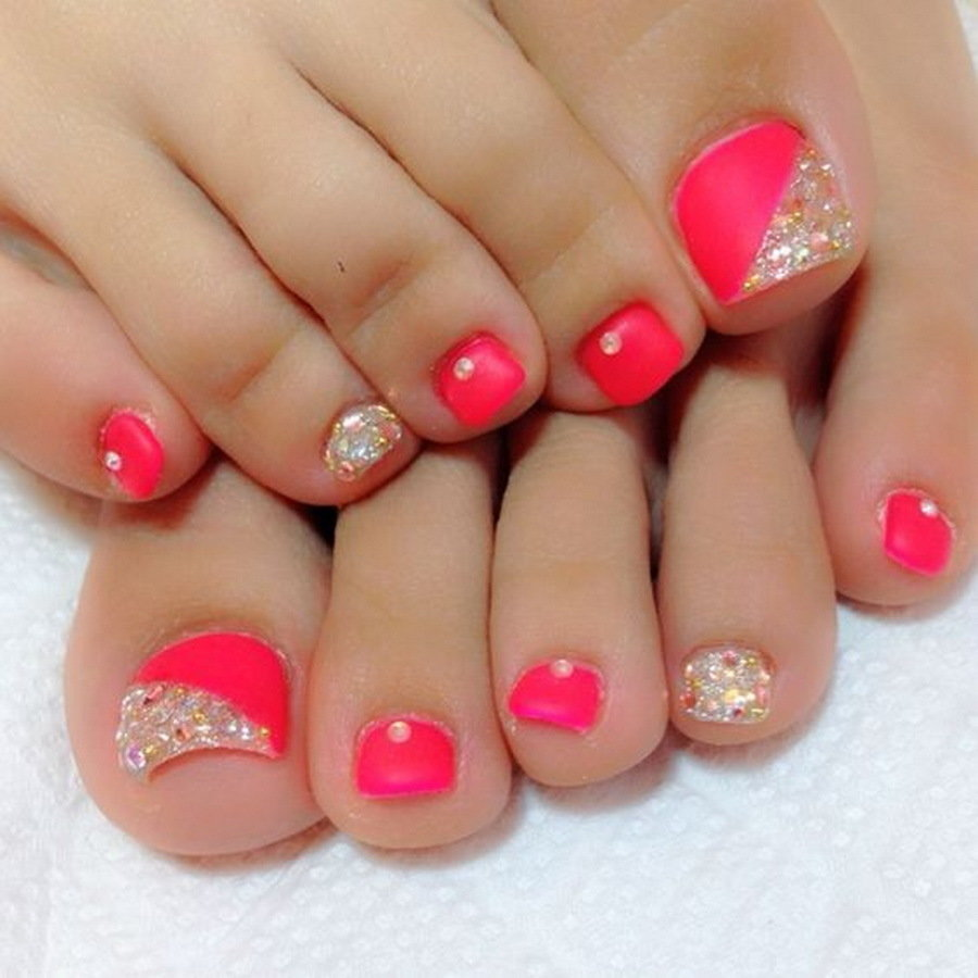 Cute Flashy Pink Toe Nail Style