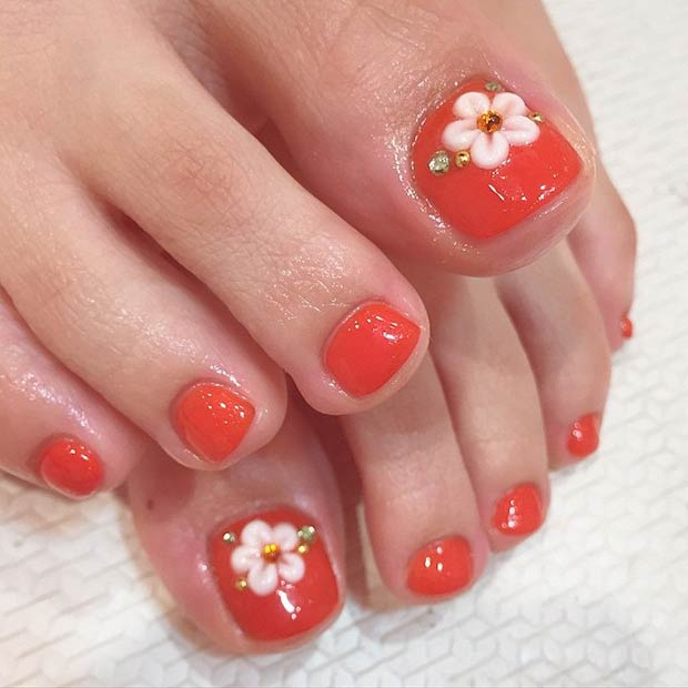 Simple Pedicure nail design