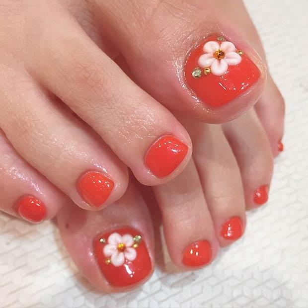 Simple Pedicure Nail Design