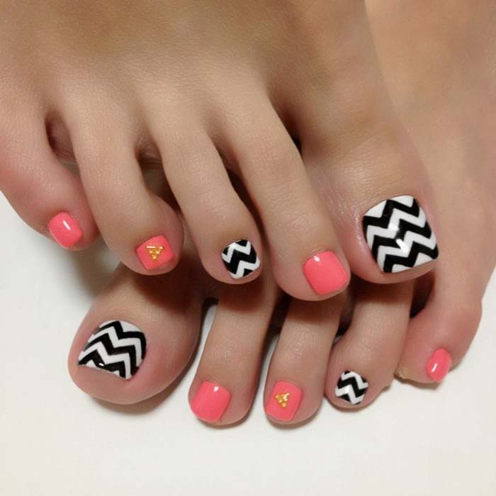 Toe Nail Designs with black color - 50 Cutest Toenail Design Ideas For Any Picky Girl