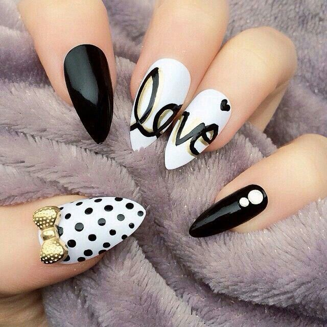 Love & Laugh black and white nail