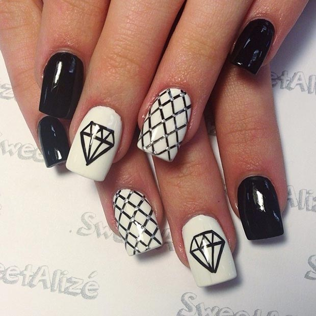 black and white nail designs 32