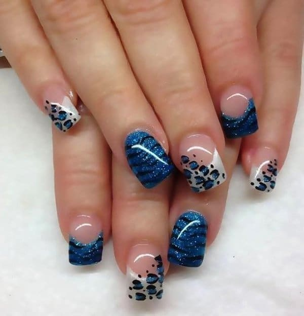 Animal Print blue nails designs