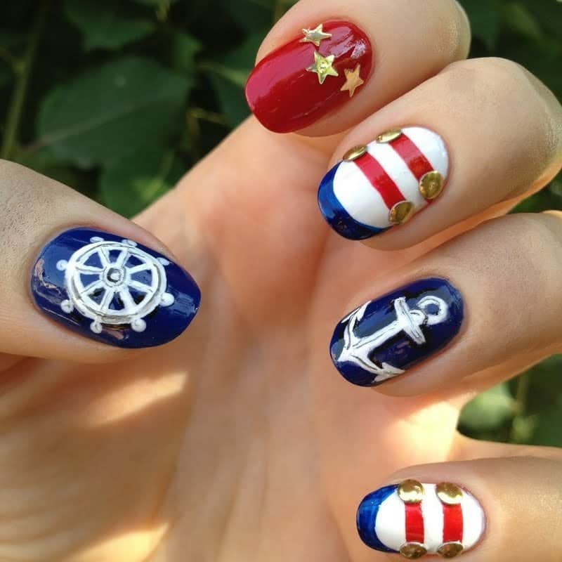 navy blue nail designs
