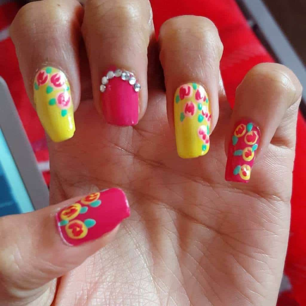 Creative yellow and pink Nail Design