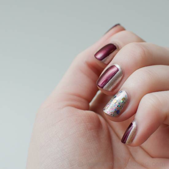 Maroon & Gold Nail Art Design for girl