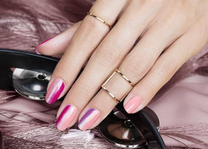 pink nail art for girl