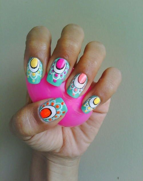 Colorful Eggs nail art designs