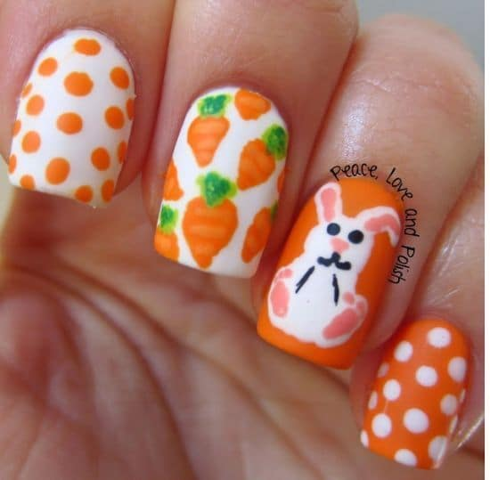 orange color ideas with nail designs
