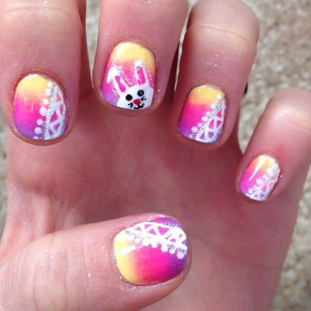 triple color nail designs with a bunny