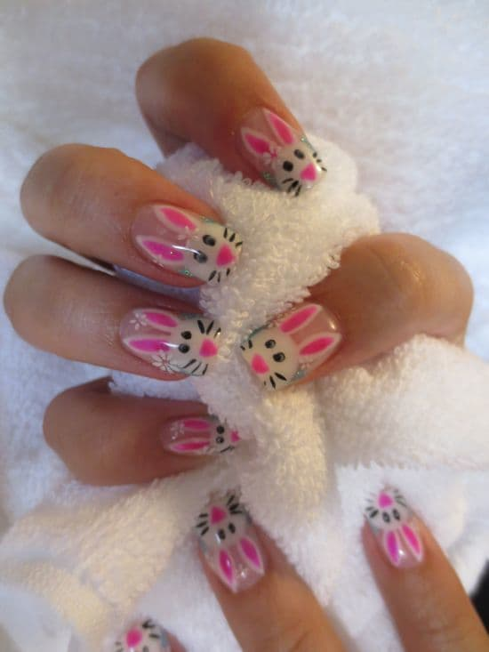 colorful Nail Designs with bunny