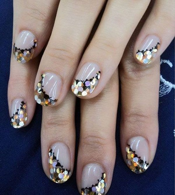 Golden Touch with white Glitter nail
