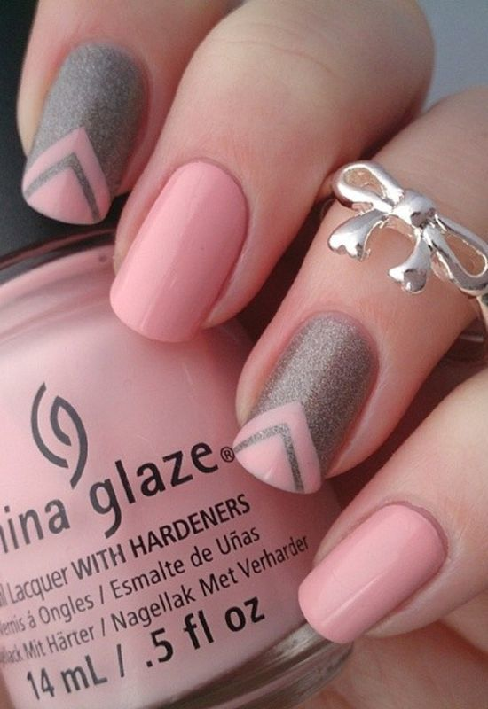 Pink And Grey Glitter nail design you like