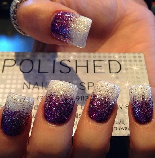 50 snazziest glitter nail design ideas naildesigncode purple and white fades glitter nail designs 23 prinsesfo Image collections