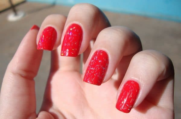 Candy Red Glitter nail color for girl