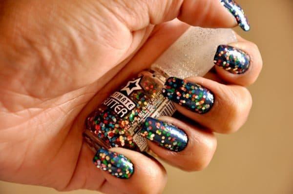 Disco Party Glitter nail idea