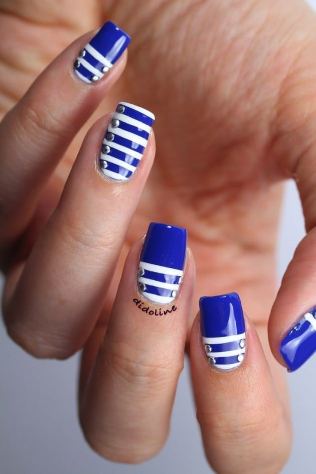 Light Blue, Navy blue & Royal blue nail designs for women