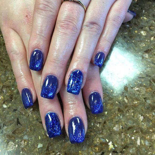 deep Navy blue nail design for girl