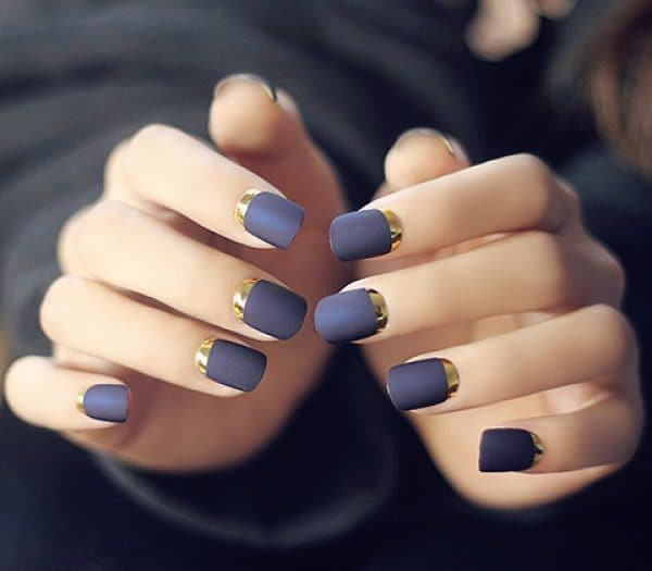 Matte & Gold blue nail designs for nail