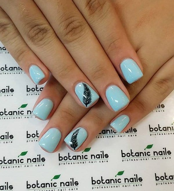 Feather Weather blue nail designs for women