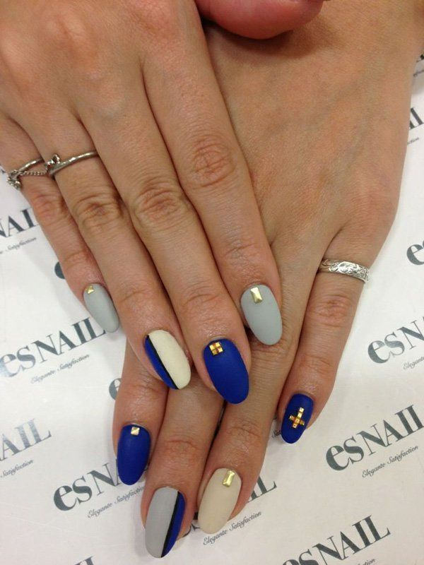 Navy Almond nail art for girl