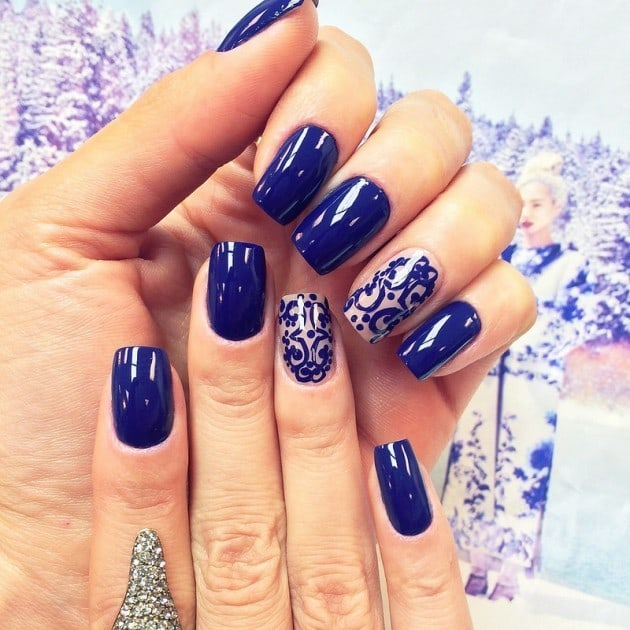 Light Blue, Navy blue & Royal blue nail designs 3
