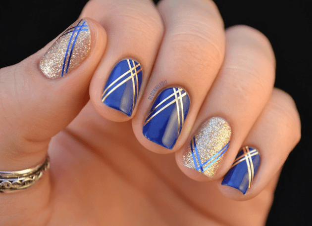 Navy blue & gold nail art