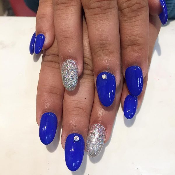 Silver Glitter Royal blue nail designs ideas