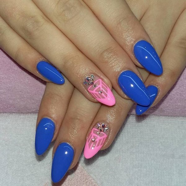 Royal blue with Ballet Slipper nail designs
