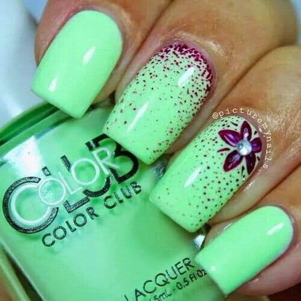 Light green, Maroon & Airbrush nail designs 11