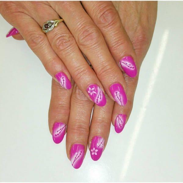 Light green, Maroon & Airbrush nail designs 16
