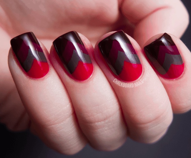 Chevron Pattern mixed color nail idea for men