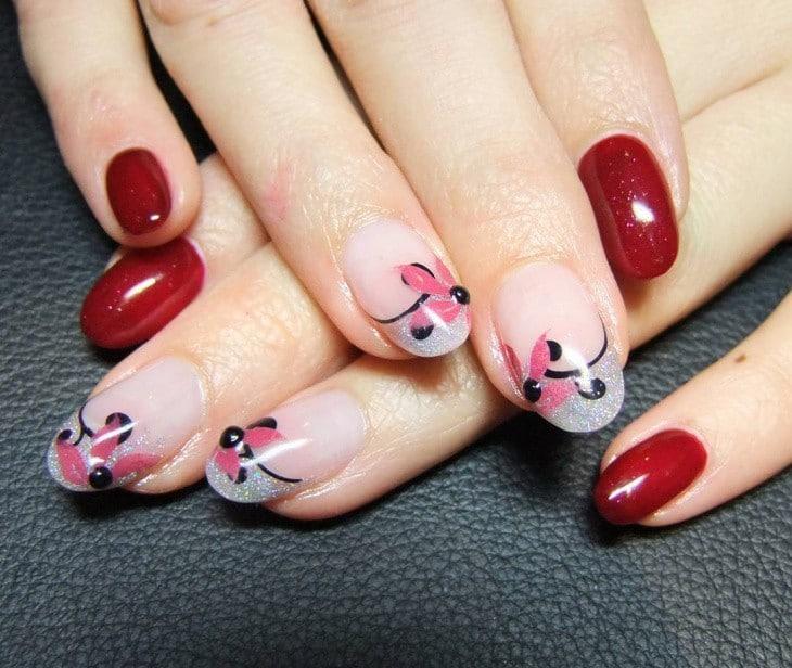 Light green, Maroon & Airbrush nail designs 19