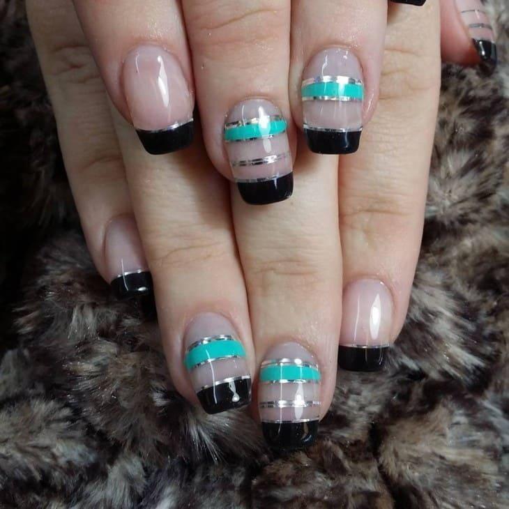 Silver Stripes nail idea for girl