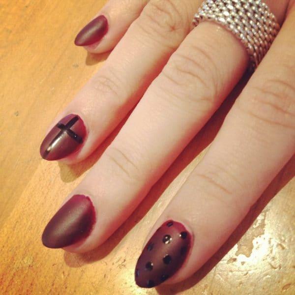 Light green, Maroon & Airbrush nail designs 3