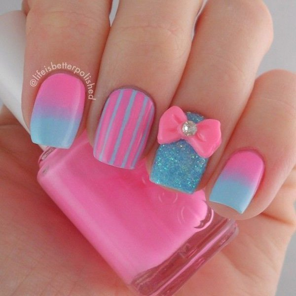 Cotton Candy pink nail