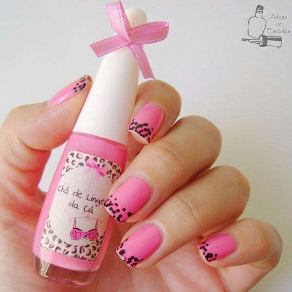 Pink With Leopard nail