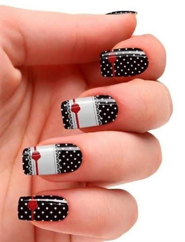 The Maid Uniform Minnie mouse nail art