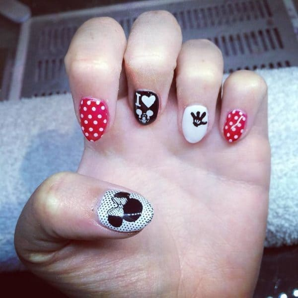I Love Mickey Mouse nail art