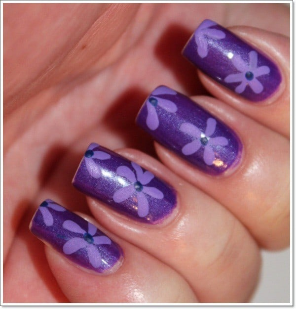 Purple Sun Flower nail