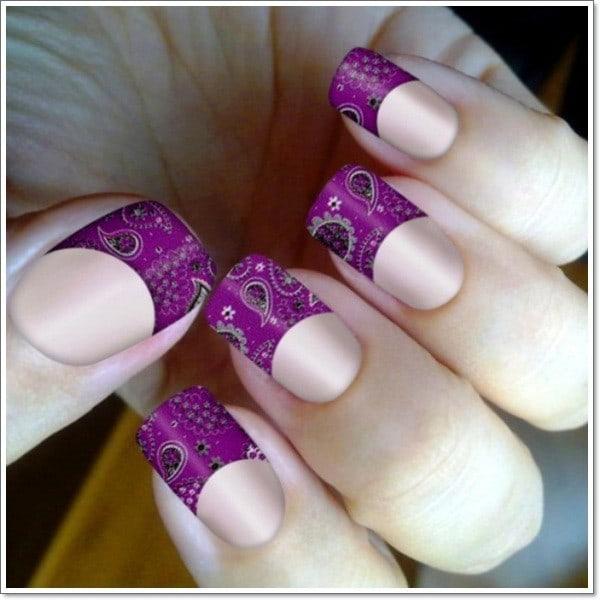Paisley Print Purple Purple Nail Designs